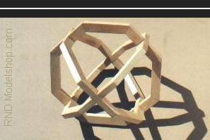 3 hexagons on 3 axis wood sculpture (18pc)