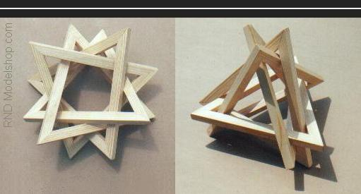 4 Equilateral Triangles form a 12 point star or a 3 point tripod sculpture