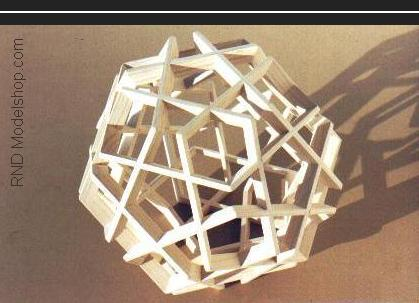 Dodecahedron sculpture with 12 great pentagons & 12 small pentagons (60pc)