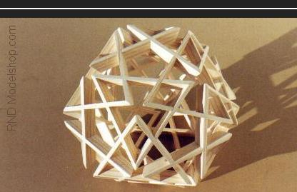 Dodecahedron wood sculpture made of 20 triangles (60pc)