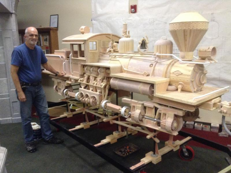 One-Quarter actual scale animated wood train trade show display model