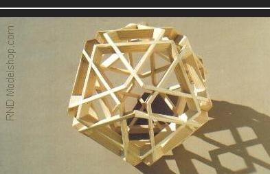Icosahedron wood sculpture with 12 great pentagons & 12 small stars