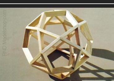 Icosidodecahedron wood model