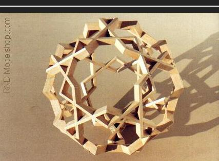 Icosaodecahedron open wood frame sculpture / 60 pieces