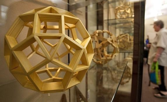 Platonic Solids & Archimedes Solids all wood geometry models on display