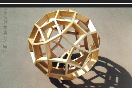 Rhombicosidodecahedron wood model (120pc)