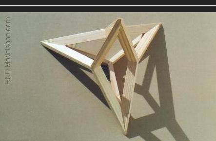Tetrahedron made only of its medians (triangle centerlines) 12pc