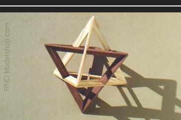 Tetrahedron self dual (Uniform Compound) with wood stain in 2 colors
