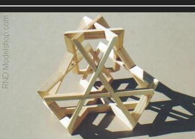 Tetrahedron made of 6 beveled woven rectangles (24pc total)