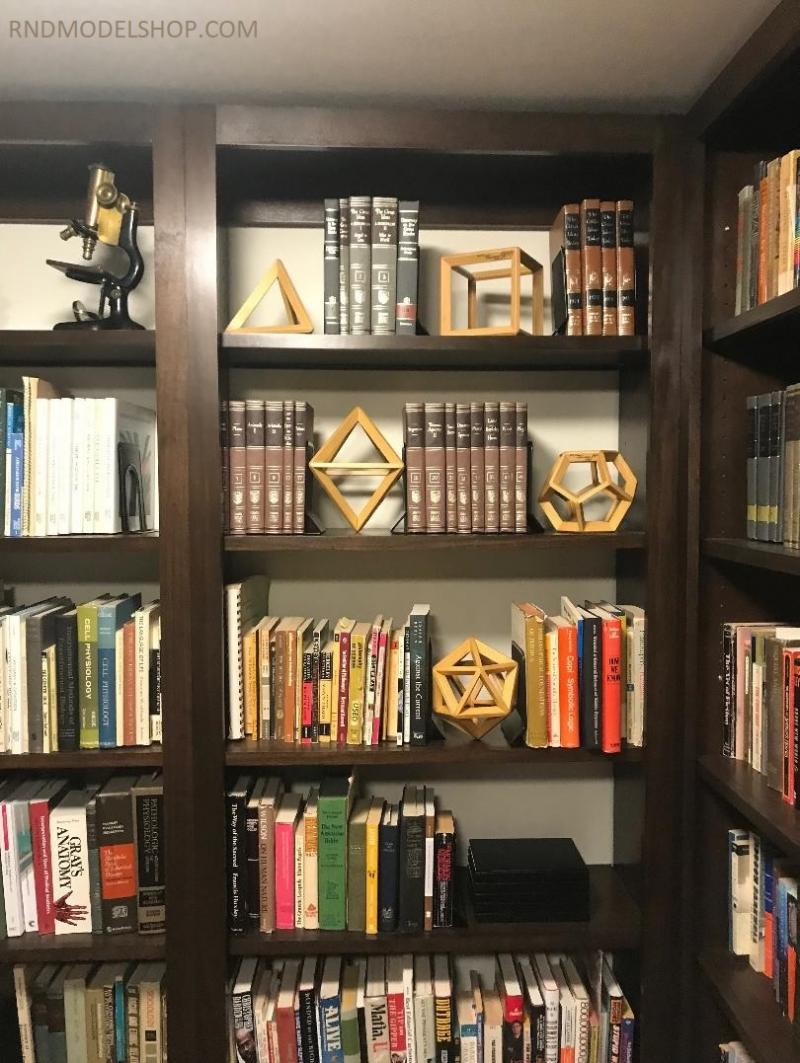 "6"" size Platonic Solids in a bookshelf"