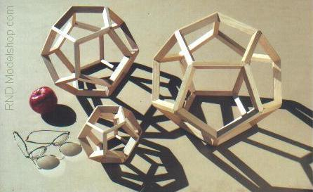 Wood Dodecahedrons / Platonic Solid models in 6&quot; 9&quot; or 12&quot;