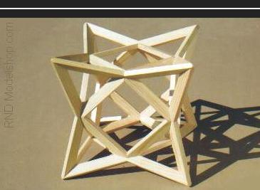 Cube of 8 tetrahedron wood sculpture (48pc)