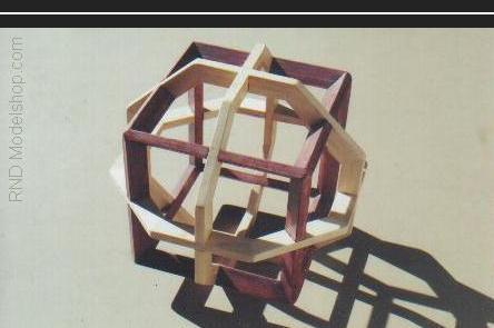 Cube with 3 hexagons interwoven on 3 axis
