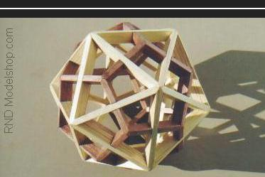 Dodecahedron & Icosahedron 'dual' model with wood stain in 2 colors