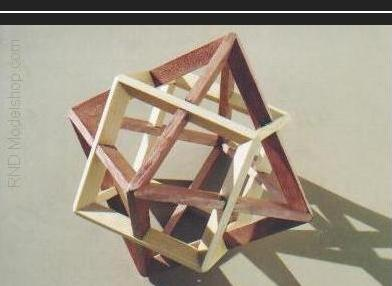Octahedron & Cube dual model with wood stain in 2 colors