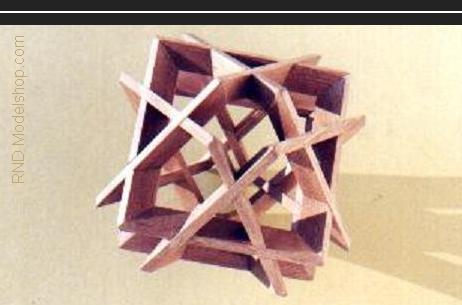 Octahedron of 6 square beveled frames (24pc) wood sculpture
