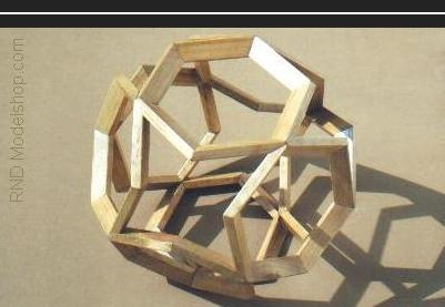Octahedron of 8 open hexagons (48pc) wood sculpture