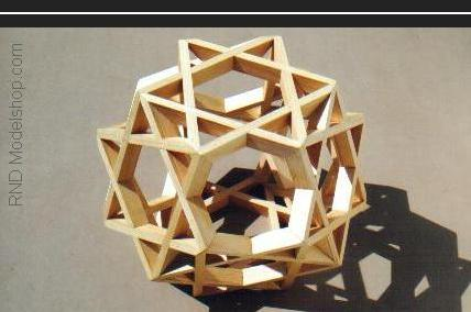 Octahedron of 8 hexagrams &quot;Star of David&quot; (48pc) wood sculpture