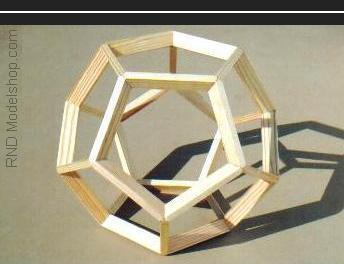 Dodecahedron open frame wood model