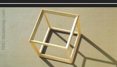 Hexahedron (Cube) open frame wood model