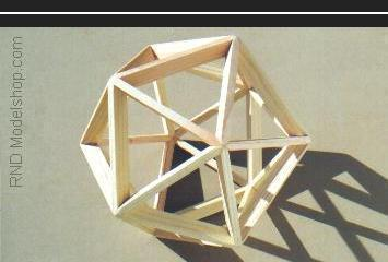 Icosahedron open frame wood model