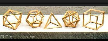 All wood 'open frame' models of the 5 Platonic Solids