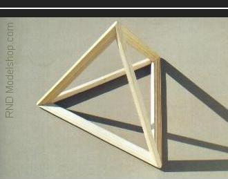 Tetrahedron open frame wood model